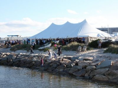 cape cod outside tent wedding